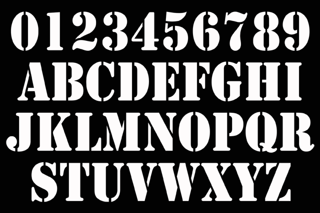 names numbers stencil 02 font